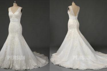 robe de mariée trompette décolleté v en dentelle appliquée à traîne