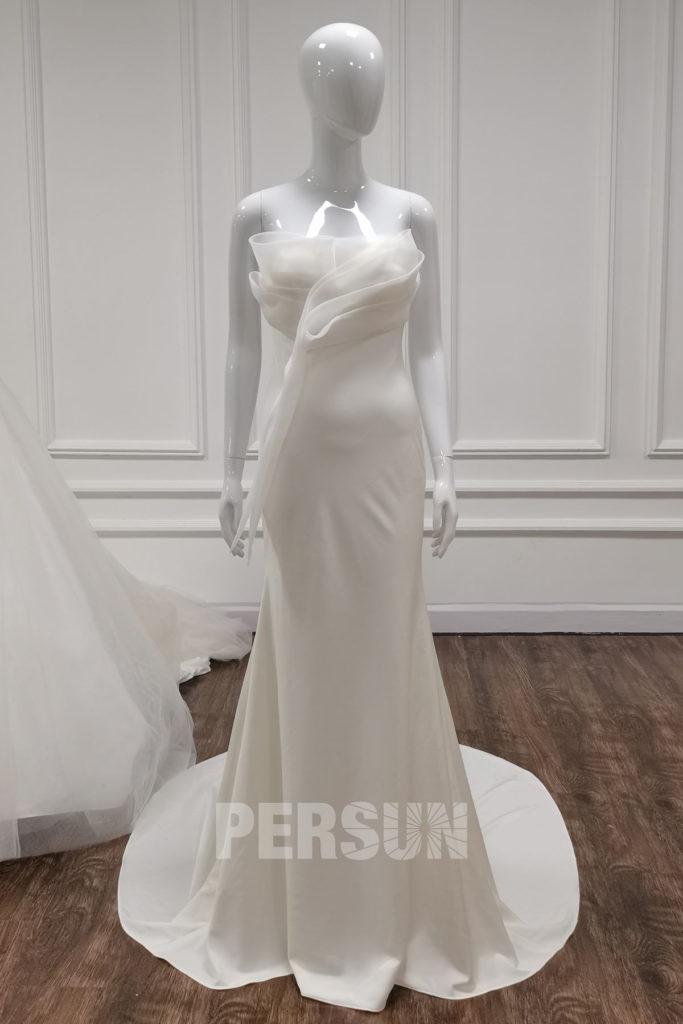 robe de mariée sirène simple bustier drapé fantaisie