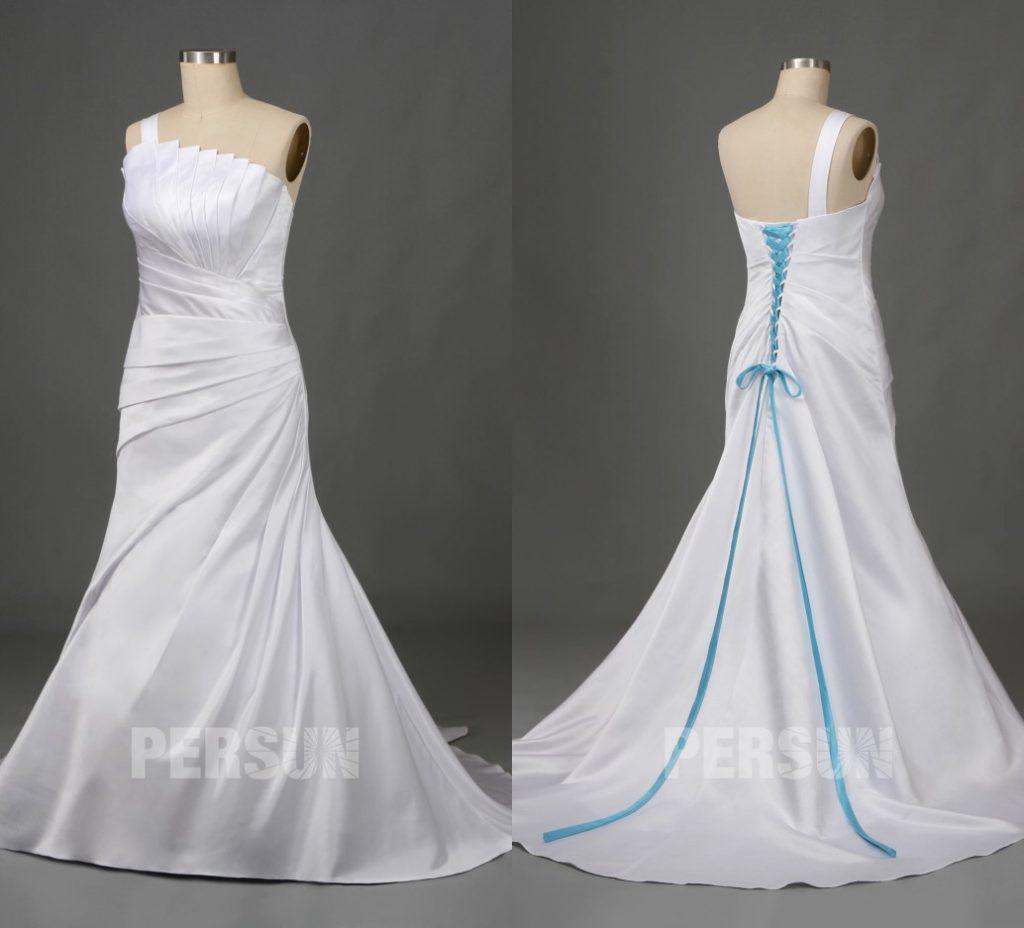 robe de mariée grande taille asymétrique plissé